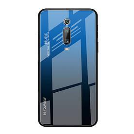 Чехол накладка для Xiaomi Mi 9T с зеркальной поверхностью, Градиент, синий