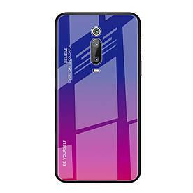 Чехол накладка для Xiaomi Mi 9T с зеркальной поверхностью, Градиент, фиолетовый