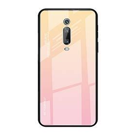 Чехол накладка для Xiaomi Mi 9T с зеркальной поверхностью, Градиент, золотисто-розовый