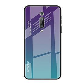 Чехол накладка для Xiaomi Mi 9T с зеркальной поверхностью, Градиент, сиреневый