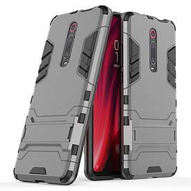 Чехол накладка для Xiaomi Mi 9T противоударный силикон и пластик, Alien, серый