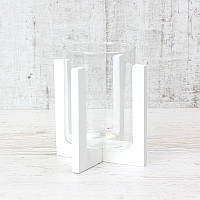 Подсвечник стеклянный на деревянной подставке  Белый, 90х118