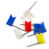 Кнопки гвоздики с флажками Optima , 50шт., разноцветные, матер. шляпки -пластик, пластиковая коробка