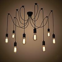Светильник паук подвесной на 8 лампочек черный NL149-8, фото 1