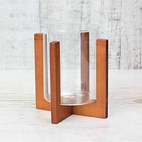 Подсвечник стеклянный на деревянной подставке  Вишня, 90х118