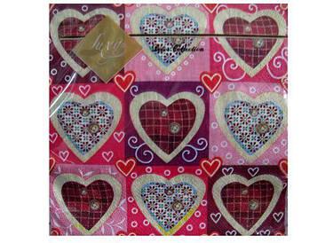 Дизайнерская салфетка (ЗЗхЗЗ, 20шт) Luxy  Сердечко (210) (1 пач)