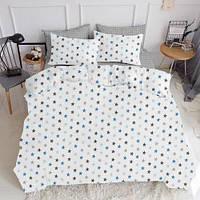Комплект полуторного постельного белья STAR BLUE GREY DROP (хлопок, ранфорс)