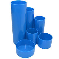 Подставка наст. (пустая), 6 отдел., пласт., круглая, синяя, Economix