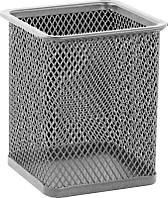 Стакан для ручек, металл, 1 отдел, квадратный, серебряный, сетка, Buromax