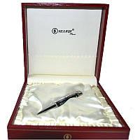 Ручка шариковая Sz.Leqi Trumpet shell, стерж.син., поворотный, корп. натуральные раковины зеленый перламутр, стразы
