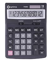 Калькулятор наст. Optima 75503, 12 разр., фиксированный угловой, 170х132х22, черный