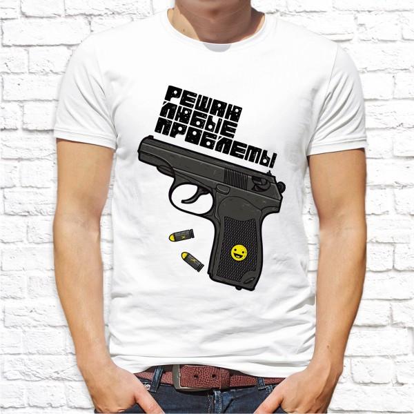 """Мужская футболка с принтом Пистолет """"Решаю любые проблемы"""" Push IT"""