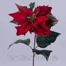 Пуансеттия бархатная премиум красная  Новогодний декор