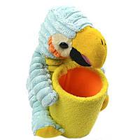 Стакан для ручек детский, пласт. +ткань, 1 отд., круглый, цветной, с игрушкой Попугай, 1 Вересня