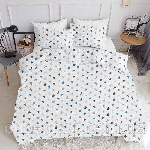 Комплект полуторного постельного белья STAR BLUE WHITE (хлопок, ранфорс)