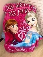 Детский флисовый плед Frozen Анна Эльза Холодное Сердце 100х150 см подарок для девочки