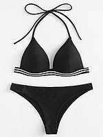 Черный раздельный купальник бикини на резинке, размер М