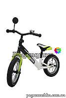Беговел «Azimut » Crosser Balance Kids Черный с салатовым (колеса 12 дюймов)