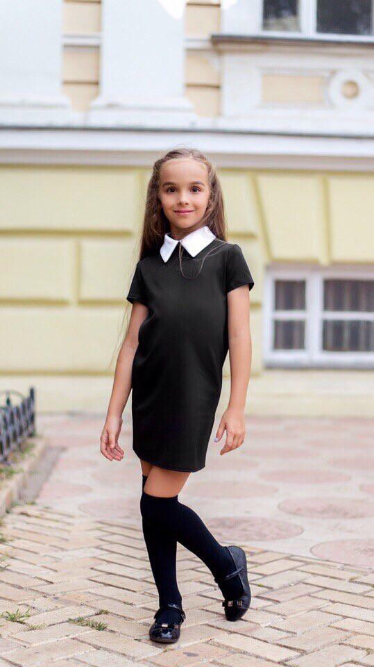 Школьное платье для девочки белый воротник короткий рукав