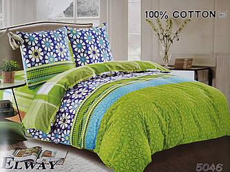 Сатиновое постельное белье евро ELWAY 5046 «Абстракция»