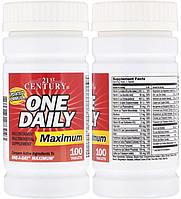 21st Century, Комплекс витаминов и минералов, Витаминный комплекс с минералами One Daily Maximum, 100 таблеток