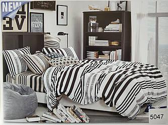 Сатиновое постельное белье евро ELWAY 5047 «Абстракция»