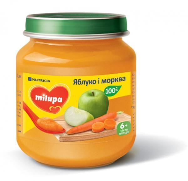 Пюре Milupa  Яблоко и морковь  125 гр от 6 мес