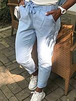 Брюки женские из льна на резинке с завязкой (К28569), фото 1