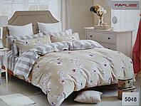 Сатиновое постельное белье евро ELWAY 5048 «Цветочный орнамент»