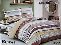 Сатиновое постельное белье евро ELWAY 5050 «Абстракция»