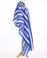 """Пеньюар для стрижки волос """"Barbershop"""" вертикальная сине-белая полоса, фото 1"""