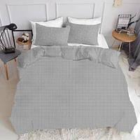 Комплект полуторного постельного белья DROP GREY WHITE (хлопок, ранфорс), фото 1
