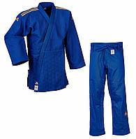 Кимоно для дзюдо Adidas Champion II IJF Blue с золотыми полосами