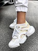 Женские кроссовки MJ-6589-3 white/yellow, фото 1