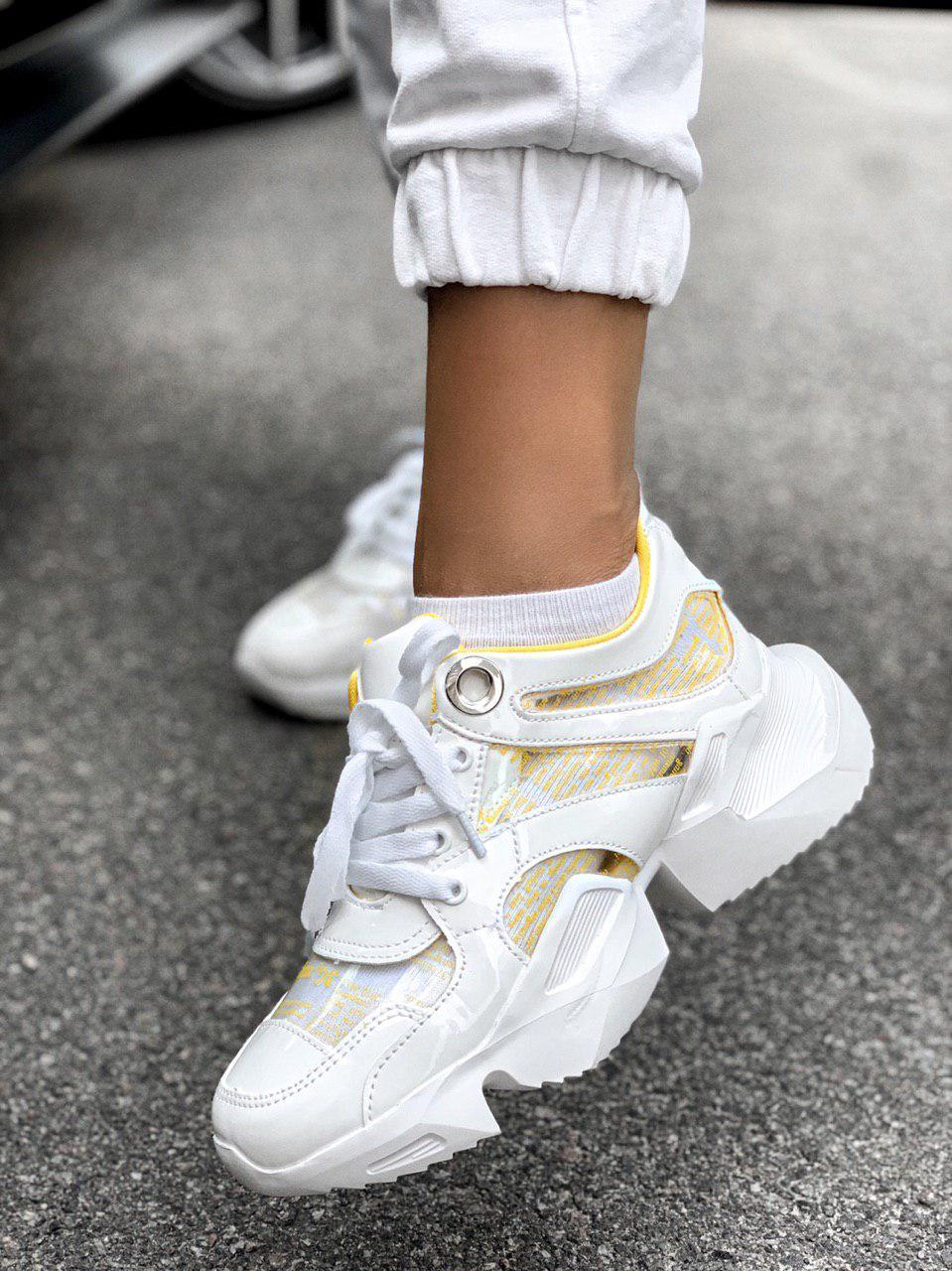 Женские кроссовки MJ-6589-3 white/yellow