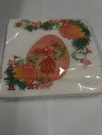 Пасхальная салфетка (ЗЗхЗЗ, 20шт)  La Fleur  Цветочная Жарптица 037 (1 пач)