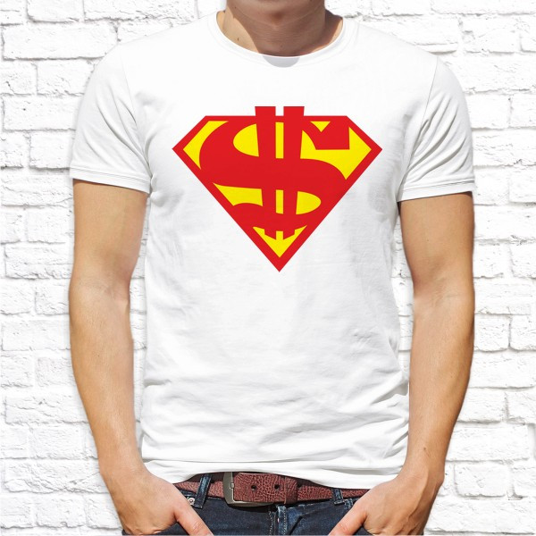 """Мужская футболка с принтом """"Супер доллар"""" по мотивам фильма """"Супермeн (Superman)"""" Push IT"""