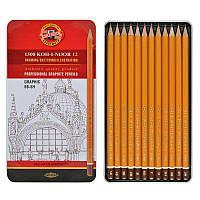 Набор карандашей чернографитных, 12 шт., Koh-i-noor 1500 Graphic, 5B-5H, шестигранный, без ластика, оранжевый,