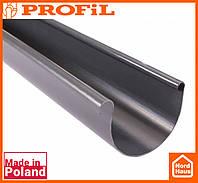 Водосточная пластиковая система PROFIL 130/100 (ПРОФИЛ ВОДОСТОК). Желоб Ø 130 3м, графитовый