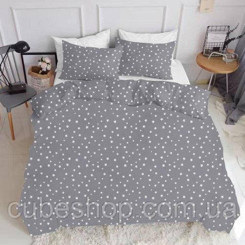 Комплект полуторного постельного белья STARS WHITE GREY (хлопок, ранфорс)