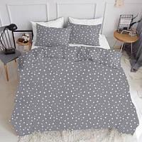 Комплект полуторного постельного белья STARS WHITE GREY (хлопок, ранфорс), фото 1