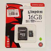 Карта памяти microSD 16Gb Class 10 Kingston с адаптером