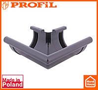 Водосточная пластиковая система PROFIL 130/100 (ПРОФИЛ ВОДОСТОК). Угол наружный Z90°. графитовый