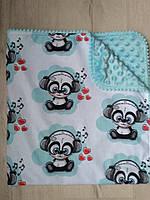 Детское одеяло Малыш панда, голубой, польский хлопок, 75х80