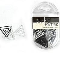 Скрепки треугольные, 23мм, 25шт., Axent Black&White, пласт., черно-бел.