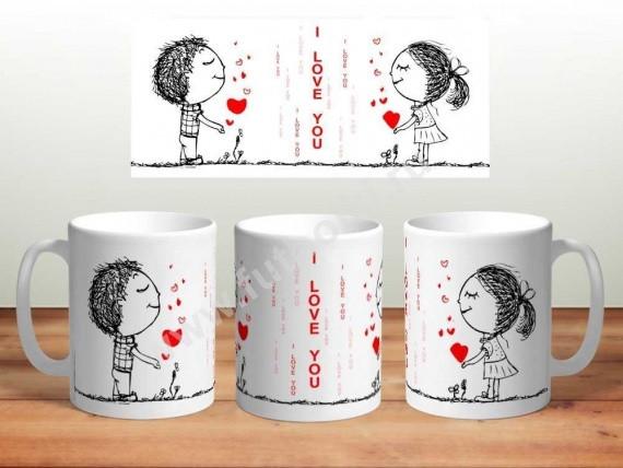 """Чашка с принтом """" I love you"""""""