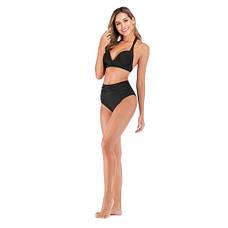 Чёрный купальник высокие плавки стильный 2020 Купальник Пушап PushUp красивый 130-35-2, фото 3