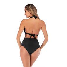 Чёрный купальник высокие плавки стильный 2020 Купальник Пушап PushUp красивый 130-35-2, фото 2