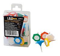 Кнопки шестигранные Leo , 40шт., разноцвет., матер. шляпки -пластик, пласт.кор.