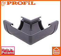 Водосточная пластиковая система PROFIL 130/100 (ПРОФИЛ ВОДОСТОК). Угол внутренний W135°. графитовый